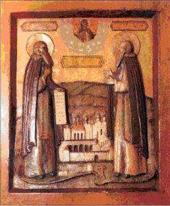 Преподобные Зосима и Савватий, Соловецкие чудотворцы. Резная деревянная икона XVII века